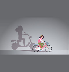 Casual girl riding bike shadow woman on motor vector
