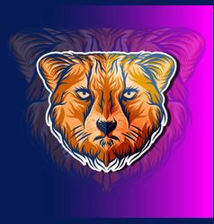 cheetah head design vector image