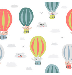 childish seamless pattern with cute hot balloon vector image