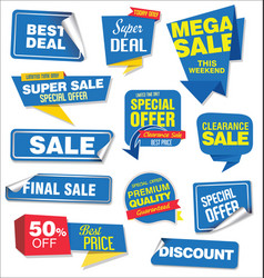 Collection of blue sale stickers and tags corners vector