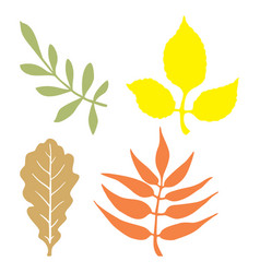 Color leaves silhouettes vector