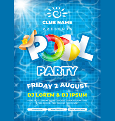 Cool pool party poster template vector