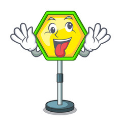 Crazy traffic sign isolated on the mascot vector
