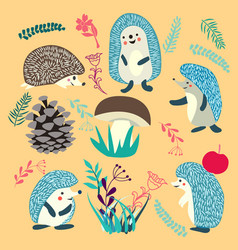 Cute hedgehog forest animals set vector
