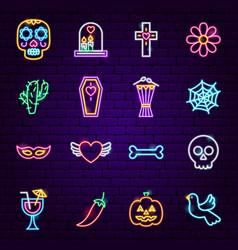 Dia de los muertos neon icons vector