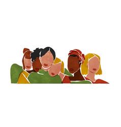 Diverse young woman group minimal abstract art vector