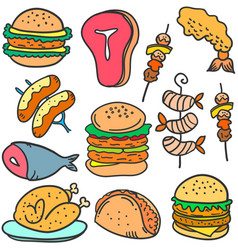 Doodle of food delicious various vector