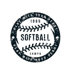 Emblem of softball championship vector