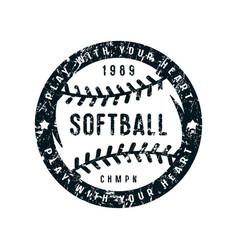 Emblem softball championship vector