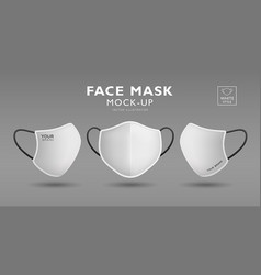 face mask fabric white mock up front and side vector image