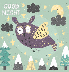 fantasy good night card with a cute owl magic vector image