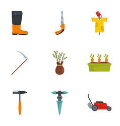 farm tool icon set flat style vector image
