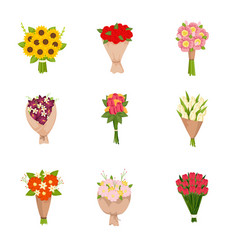 Festive gift bouquets of flowers icons set on vector