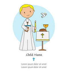 First communion card boy with a candle and a bibl vector