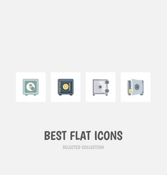 flat icon strongbox set of security coins saving vector image