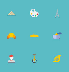 Flat icons loaf pantomime tower and other vector