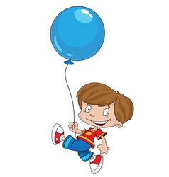 Funny boy with balloon vector