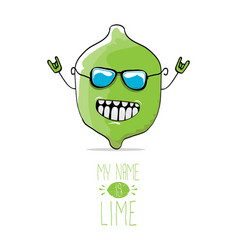 funny cartoon cute green lime vector image