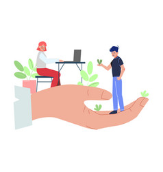 giant hands holding tiny business people vector image