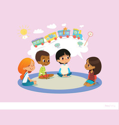 girl telling fairy tale to other children sitting vector image