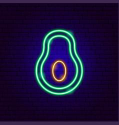 Green avocado neon sign vector