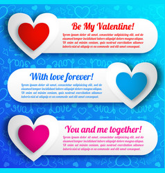 Greeting amorous horizontal banners vector