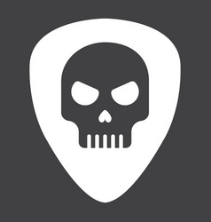 guitar pick with skull glyph icon music vector image