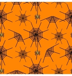 Halloween party spider net orange pattern vector image
