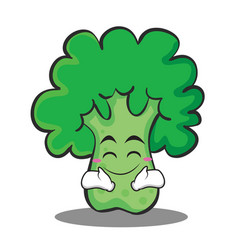 happy broccoli chracter cartoon style vector image