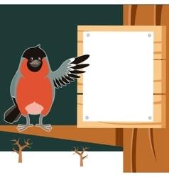 Happy Bullfinch on the Tree winter flat background vector image