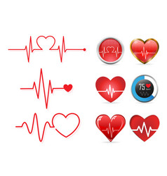 heartbeat icon set and electrocardiogram vector image