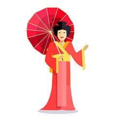 Isolated chinese woman with red umbrella in hand vector