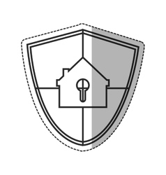 Isolated house inside shield design vector image