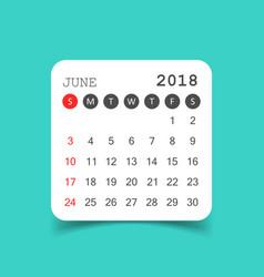 June 2018 calendar calendar sticker design vector