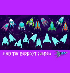 Kids game shadow match with cartoon rockets riddle vector