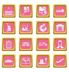Logistic icons pink vector