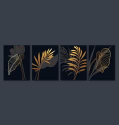 luxury botanical art background tropical leaves vector image