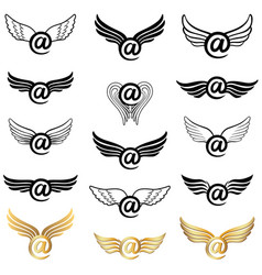 Mail icon set with wings vector
