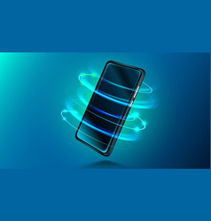 modern smartphone on dark blue background vector image