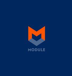 Module logo m letter m monogram vector