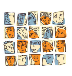 people abstract faces avatars characters icons set vector image