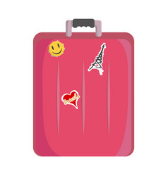 picture of a pink suitcase for travel to which are vector image