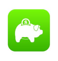 pig money box icon digital green vector image