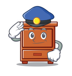 police wooden drawer character cartoon vector image
