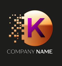 Purple letter k logo symbol in golden pixel circle vector