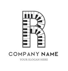 R letter logo design piano keyboard logo vector