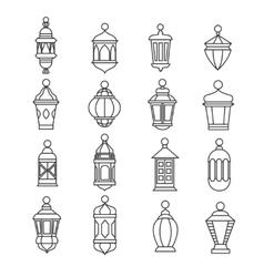 Ramadan vintage lantern linear icons vector image
