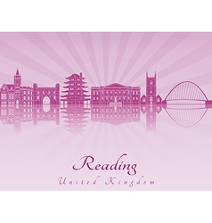 Reading skyline in purple radiant orchid vector
