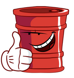 Red barre lwith a smile thumbs up with one hand vector