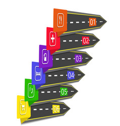 road infographic arrows pointers stylized under vector image